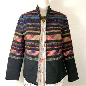 Coldwater creek beaded jacket blazer boho 12 l